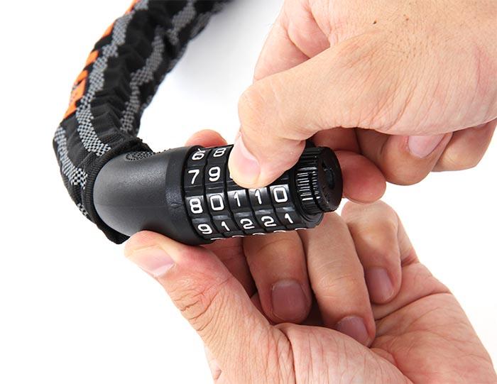 ダイヤルコンボリフレクトチェーンロック(旧仕様)解錠番号(ダイヤル)の設定方法画像