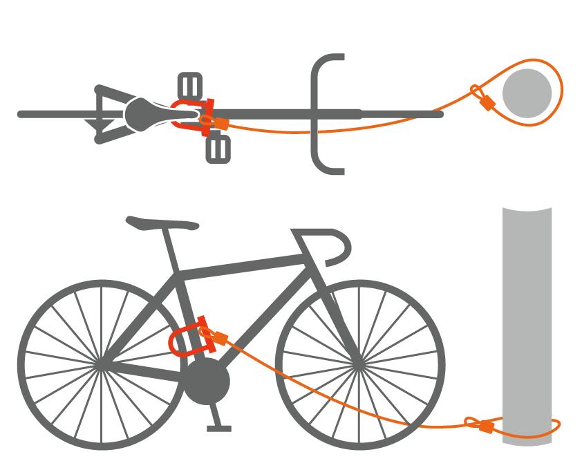 ダブルループエクステンションワイヤー自転車の施錠例画像
