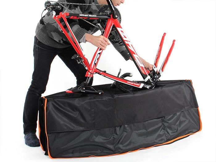 耐衝撃輪行キャリングバッグ(大径車用)自転車収納方法画像