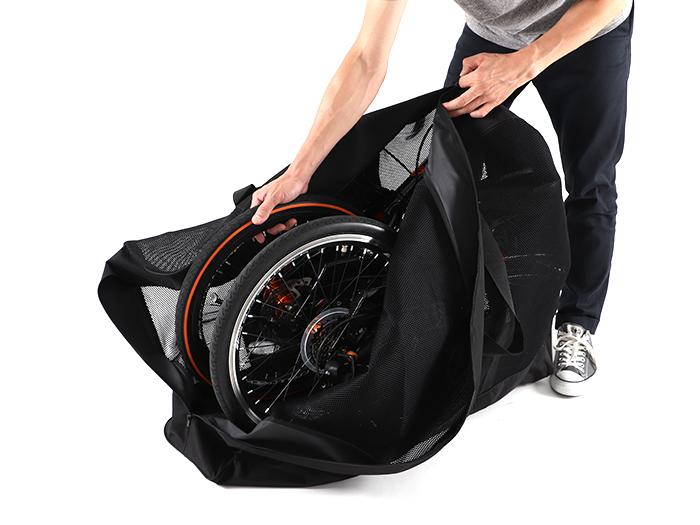 メッシュ輪行キャリングバッグ(小径車用)自転車の収納方法画像