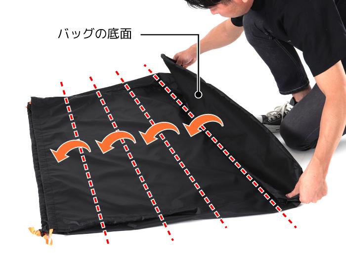 コンパクト輪行キャリングバッグ(折りたたみ小径車用)バッグの収納方法画像