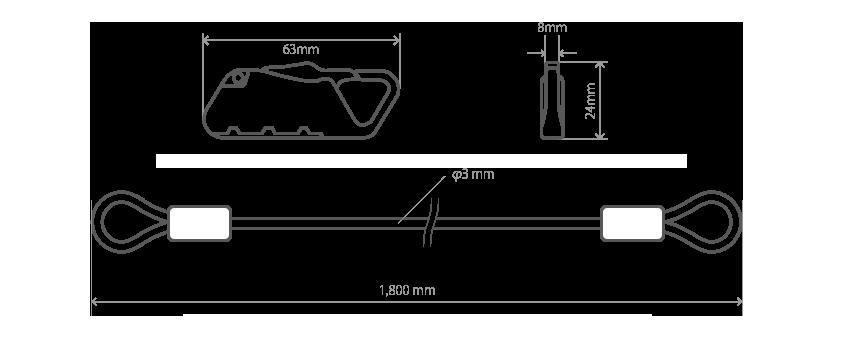 DKL425-DP ダイヤルコンボカラビナループロック サイズ画像