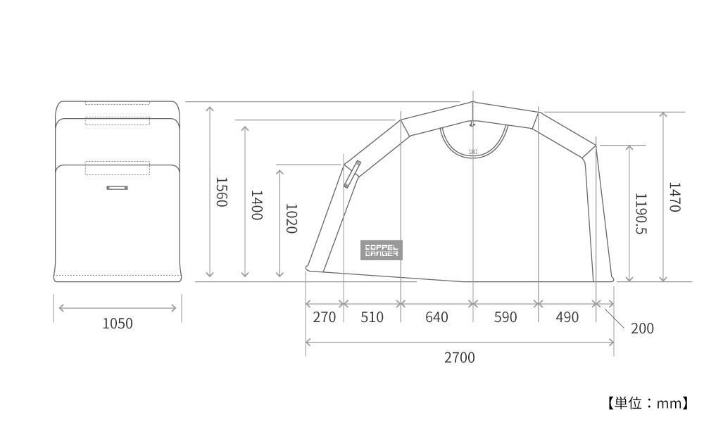 DCC374M-KH ストレージバイクシェルター2 サイズ画像
