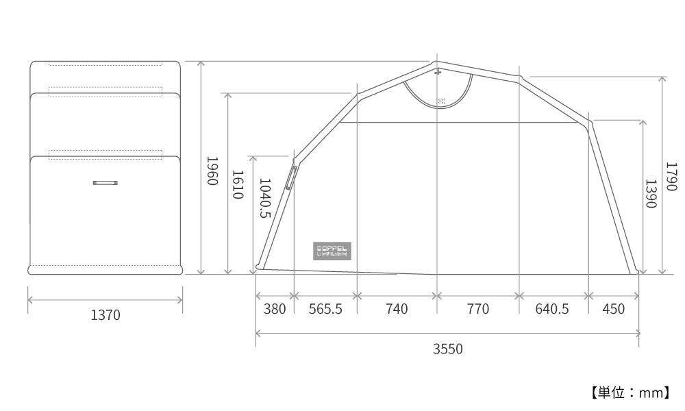 DCC374L-KH ストレージバイクシェルター2 サイズ画像
