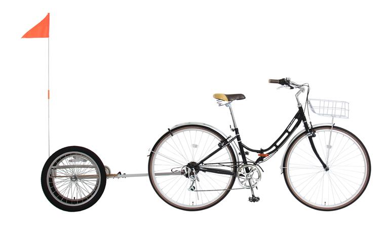 ウッディサイクルトレーラーほぼ全ての自転車に接続できるユニバーサル設計画像