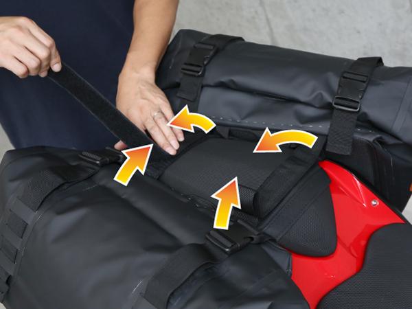 ターポリンサイドバッグ【シート幅の狭いSS(スーパースポーツ)系バイクへの装着方法】画像