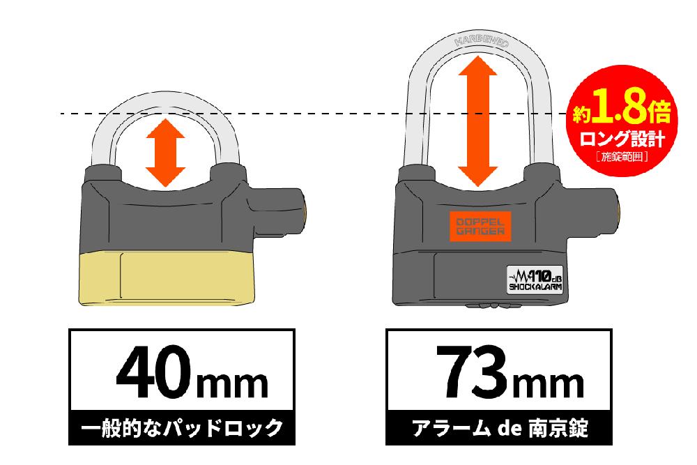 DKL450-BK アラームde南京錠 主な特徴