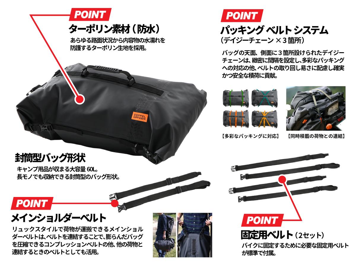 DBT427-BK ターポリンツーリングシートバッグ 主な特徴画像