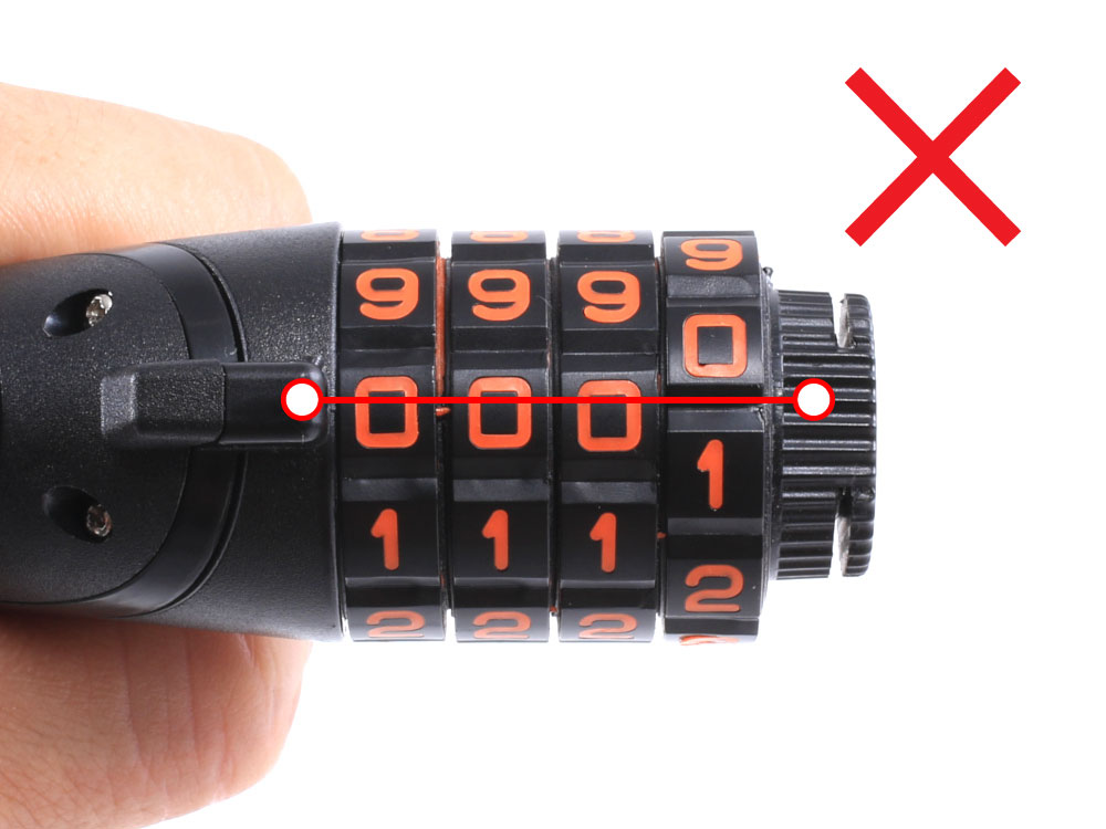 ダイヤルコンボLEDワイヤーロックパスワード設定時にご注意ください画像