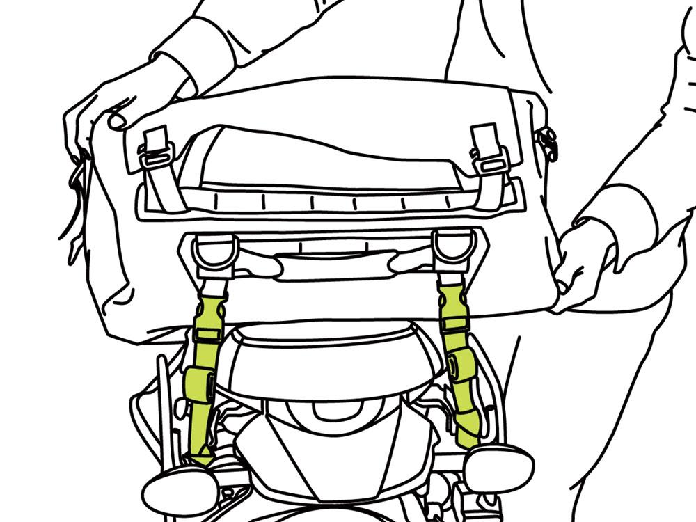 ターポリンツーリングドラムバッグバッグの装着方法画像