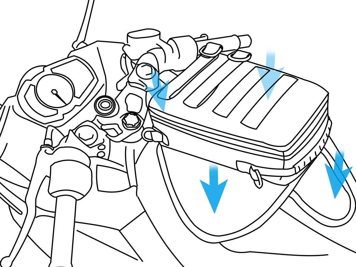 ターポリンタンクバッグ タクティクス脱落防止ベルトの接続方法画像