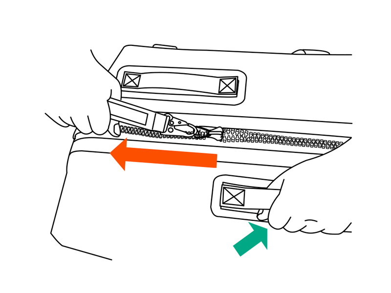 TPUウォータープルーフダッフルバッグファスナーの開け方画像