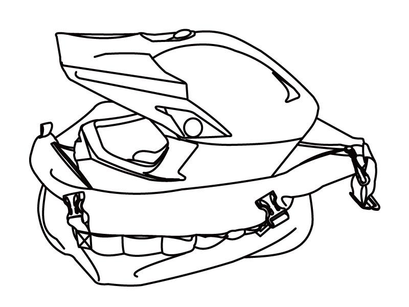 モトバックパック メットインヘルメットの収納方法画像