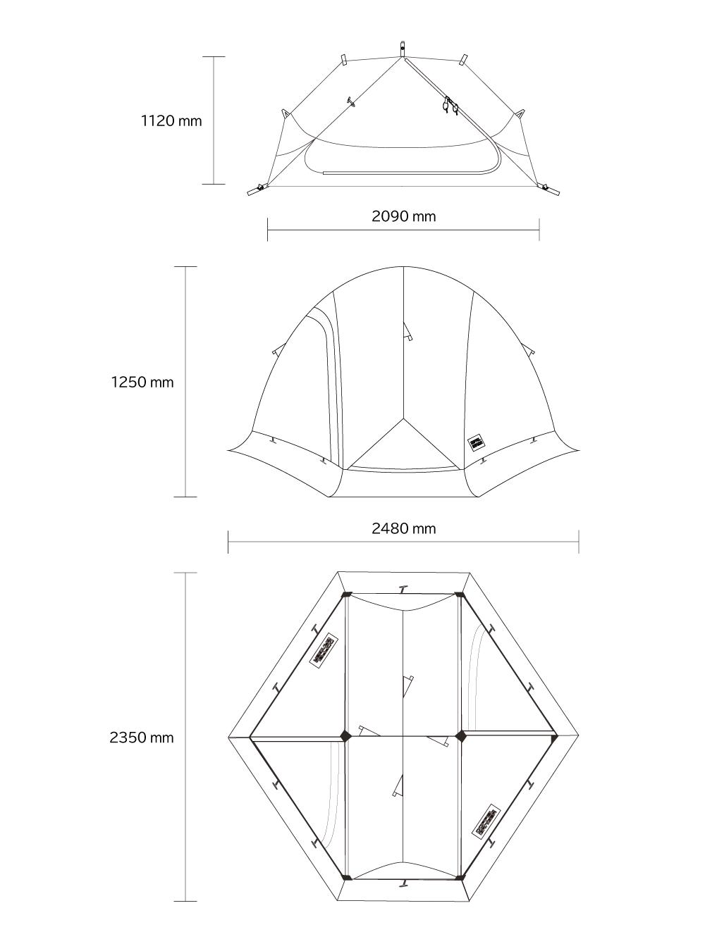 DBT571-GY バイクツーリングコットテント サイズ画像