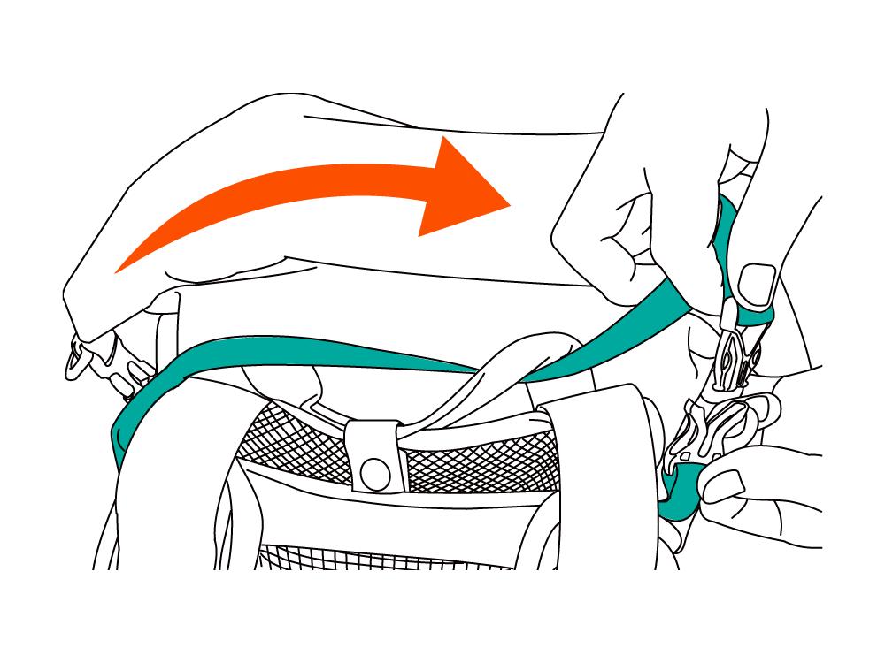 バックパックメッシュサポーター「背中蒸れんゾ」装着方法画像