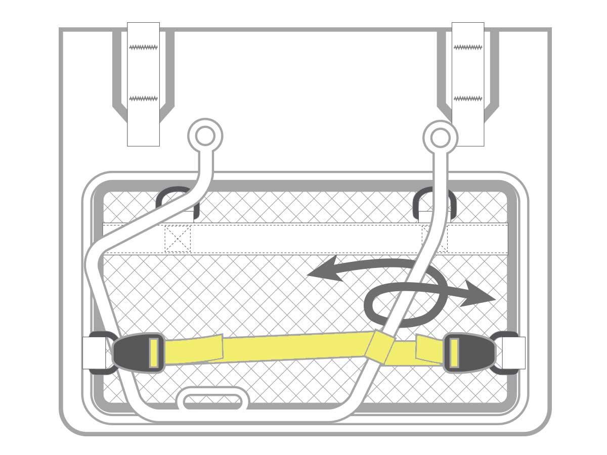 ターポリンサドルバッグ WPS装着をサポートする付属品説明画像